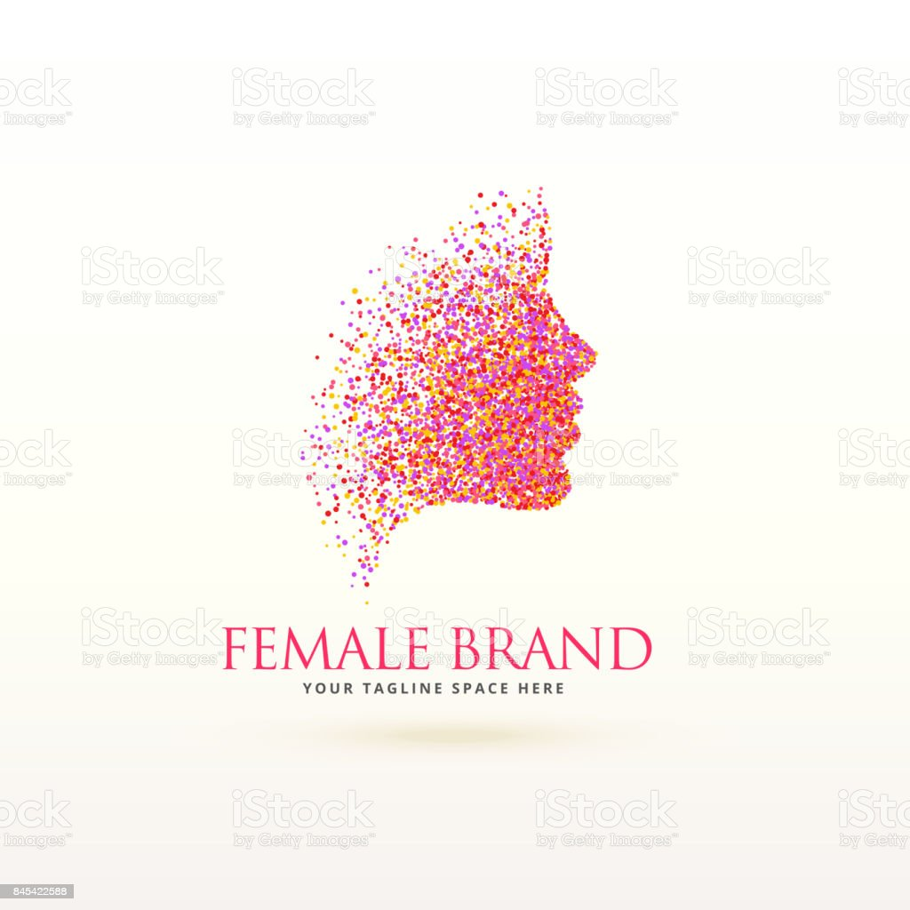 woman face logo design made with dots particle