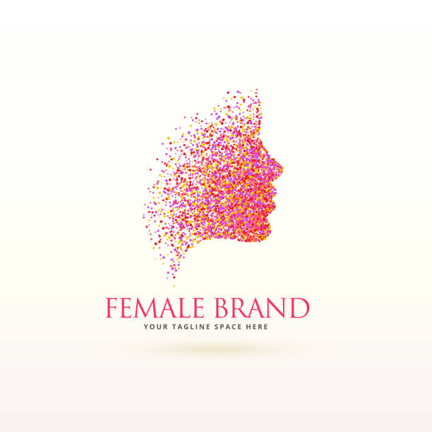 woman face logo design made with dots particle - female faces stock illustrations, clip art, cartoons, & icons