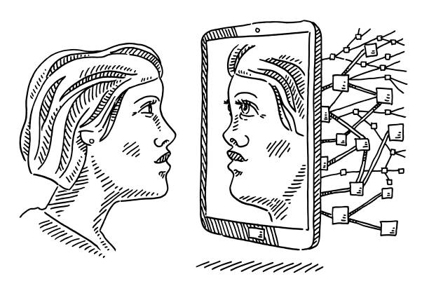 Woman Face Mirror Picture Smartphone Data Drawing Hand-drawn vector drawing of a Face of a Woman Mirror Picture on a Smartphone display, Personal Data Processing. Black-and-White sketch on a transparent background (.eps-file). Included files are EPS (v10) and Hi-Res JPG. women stock illustrations