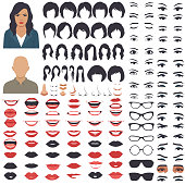 vector illustration of woman face parts, character head, eyes, mouth, lips, hair and eyebrow icon set