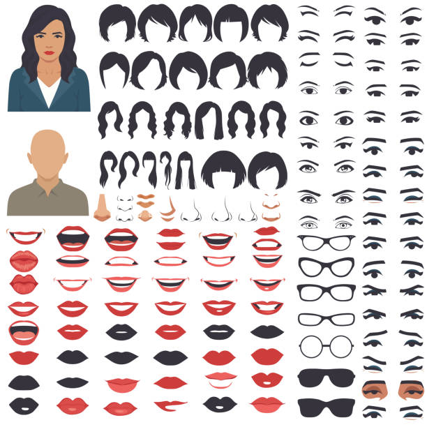 woman face parts, character head, eyes, mouth, lips, hair and eyebrow icon set - female faces stock illustrations, clip art, cartoons, & icons
