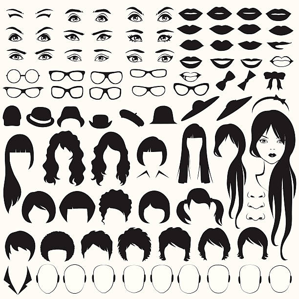 woman face parts - female faces stock illustrations, clip art, cartoons, & icons