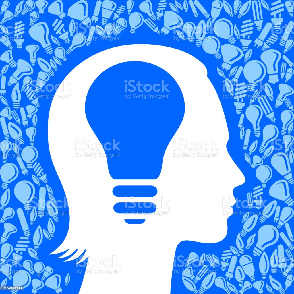 Woman Face Profile Light Bulb Blue Vector Background Pattern royalty-free woman face profile light bulb blue vector background pattern stock vector art & more images of adult