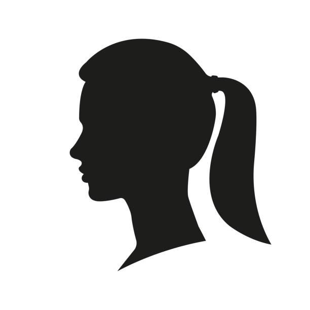 stockillustraties, clipart, cartoons en iconen met vrouw gezicht silhouet. meisje met een paardenstaart portret. vrouwelijk hoofd. zijaanzicht. vector illustratie. - jonge vrouw