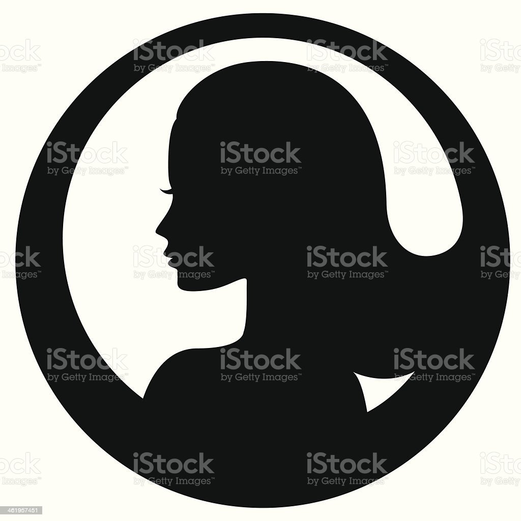 Woman face silhouette icon royalty-free stock vector art