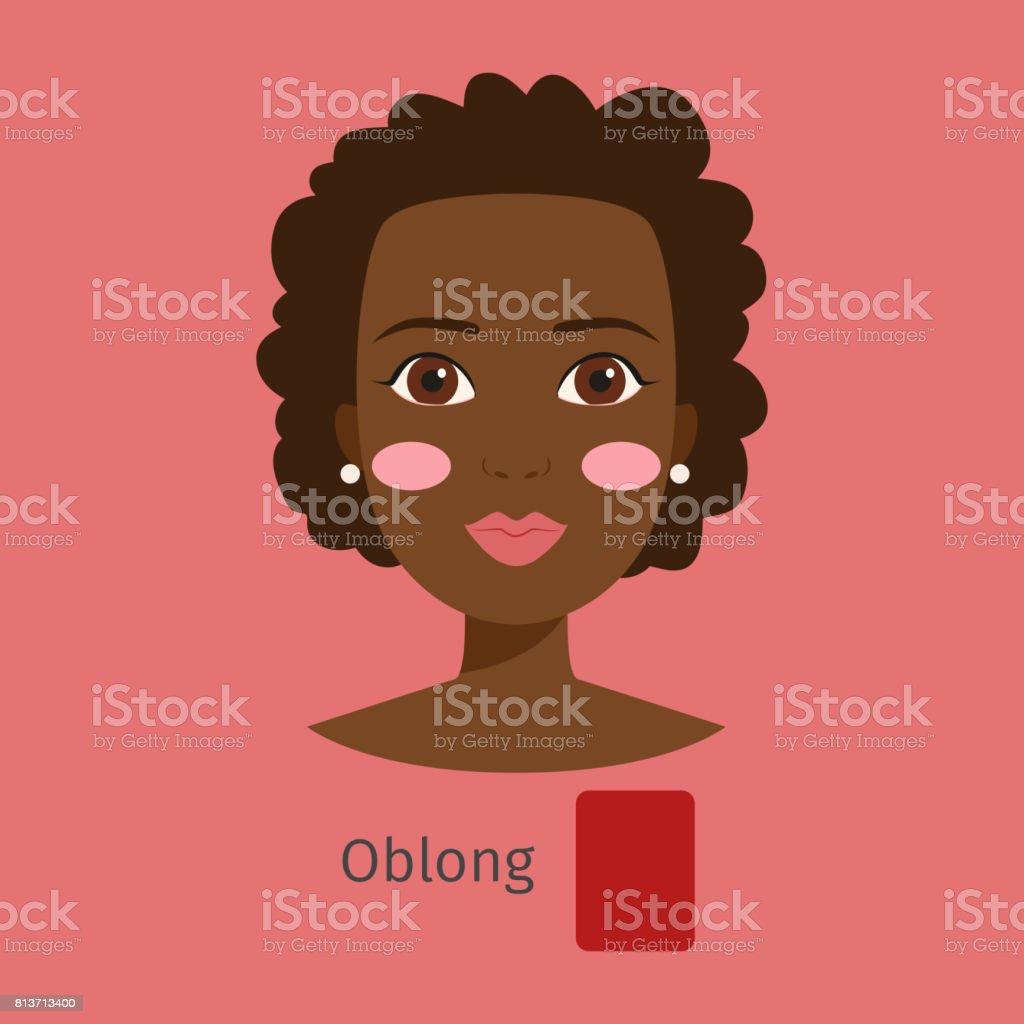 Woman face type oblong vector illustration character shape girl makeup beautiful female vector art illustration