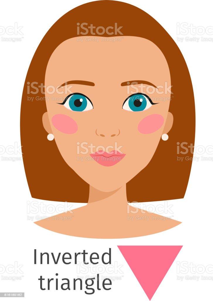 Woman face types vector illustration character shape girl makeup beautiful hair cosmetic cheeks female vector art illustration