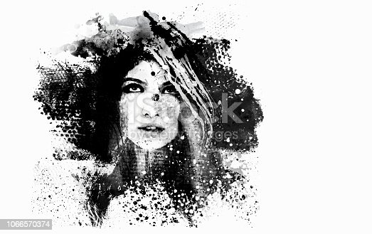Illustration of a woman face using grunge elements.