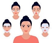 Woman face with different facial procedures. Relax with facial masks. Girl take care about her face. Spa beauty treatment, skin care, facial care. Beautiful woman with clean fresh skin. Vector