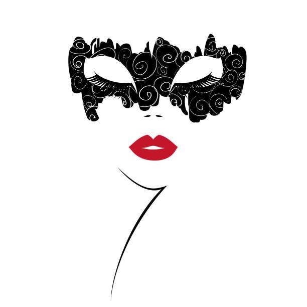 Visage de femme avec des lèvres rouges en un masque noir avec décor blanc imprimer. Illustration vectorielle - Illustration vectorielle