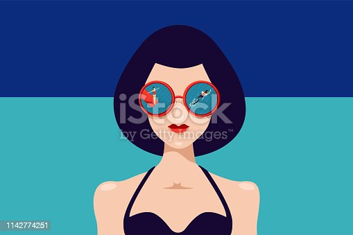 Woman face with sunglasses and reflection. Portrait front view. Vintage style fashion illustration. Vector retro poster.