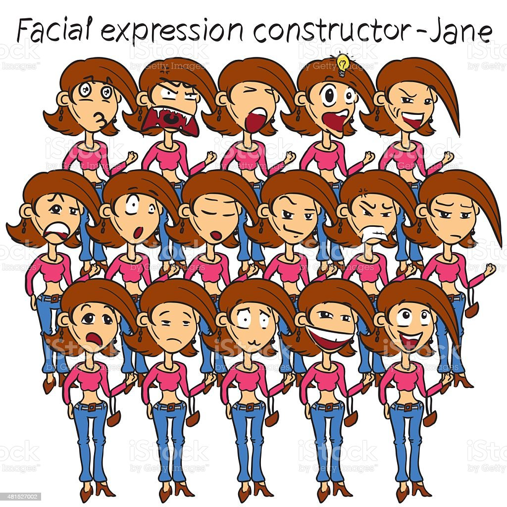 Woman facial expressions vector art illustration