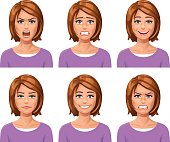 Vector illustration of a young red-haired woman, with six different facial expressions: laughing, smiling, angry, furious, anxious and neutral.