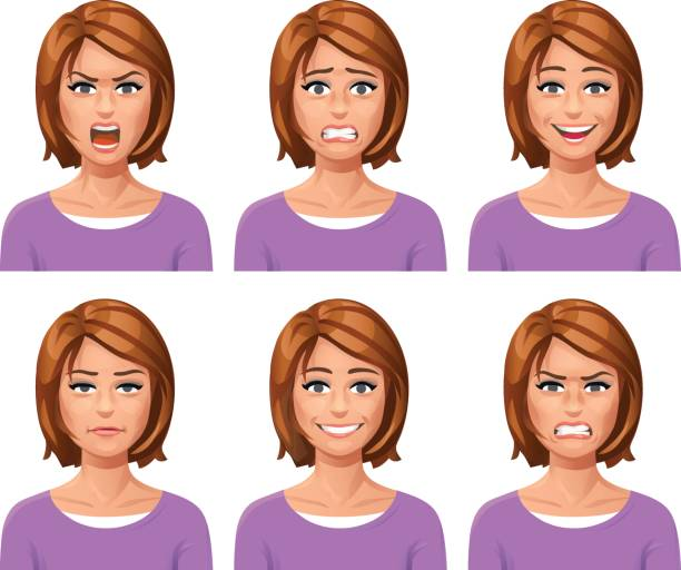 woman facial expressions - female faces stock illustrations, clip art, cartoons, & icons