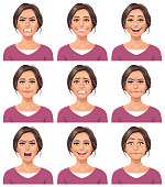 Vector illustration of a young woman with nine different facial expressions: furious, smiling, laughing, neutral, anxious, angry, screaming, talking, and stunned/surprised. Portraits perfectly match each other and can be easily used for facial animation by simply putting them in layers on top of each other.