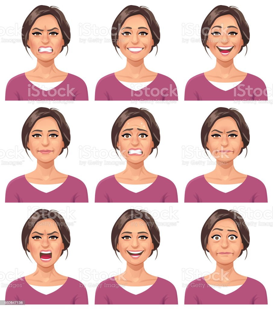 Woman- Facial Expressions vector art illustration
