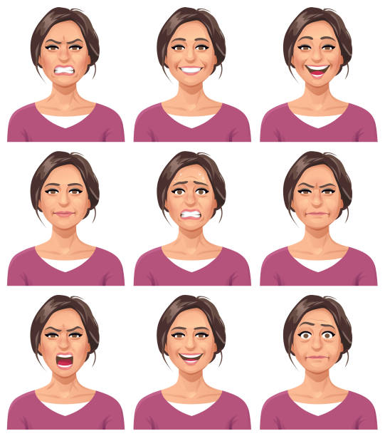 woman- facial expressions - head and shoulders stock illustrations, clip art, cartoons, & icons