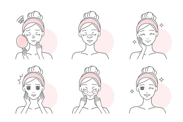woman facial skin problems - adults only stock illustrations