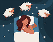 istock A woman falls asleep and counts sheep. Insomnia 1275847179