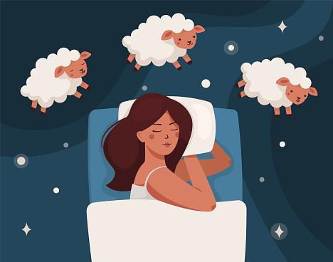 A woman falls asleep and counts sheep. Insomnia