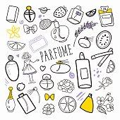 Woman Fashion Hand Drawn Doodle. Perfume Beauty Cosmetics Freehand Set. Vector illustration