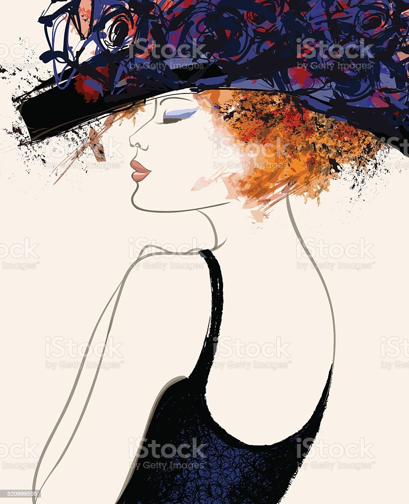 Woman fashion model with hat vector art illustration