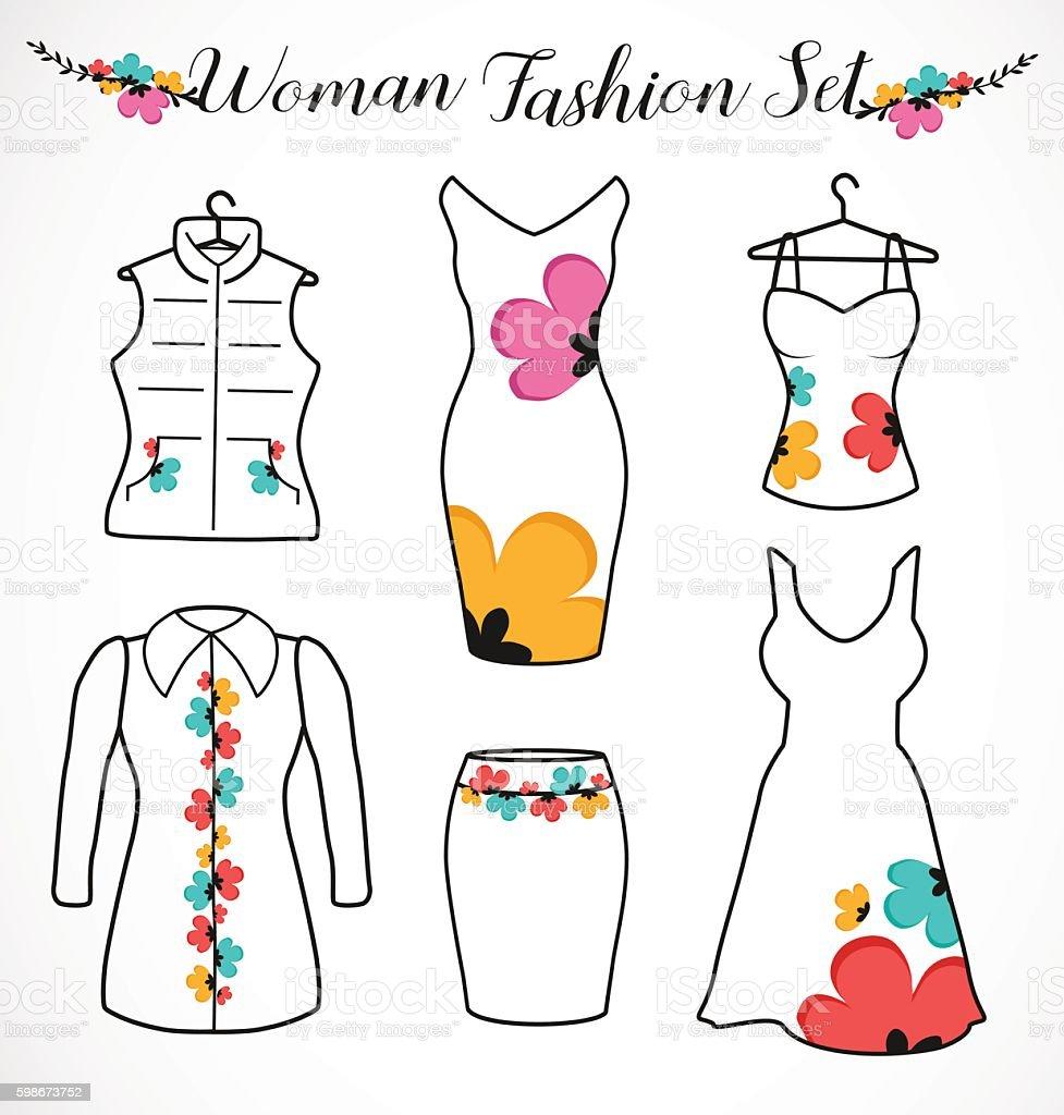 Woman Fashion Set. Clothes Silhouette with Floral Design Elements - ilustración de arte vectorial