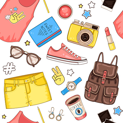 Woman fashion summer clothes, cosmetics and accessories seamless pattern with t shirt, backpack, photo camera, sunglasses and shorts
