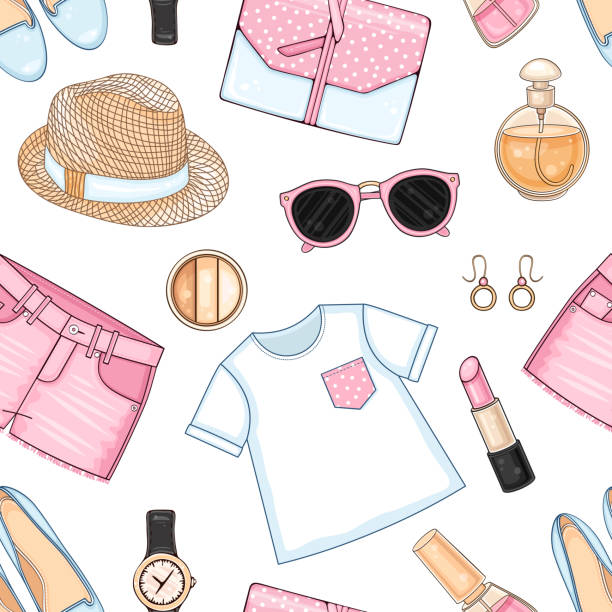 woman fashion summer clothes, cosmetics and accessories set seamless pattern pink polka dot top, bag, hat, sunglasses and shorts - summer fashion stock illustrations, clip art, cartoons, & icons