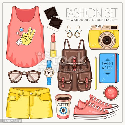 Woman fashion summer clothes, cosmetics and accessories set with t shirt, backpack, photo camera, sunglasses and shorts