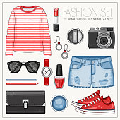Vector summer fashion set of woman clothes, cosmetics and accessories. Casual outfit with red striped top, bag, photo camera, sunglasses and jeans shorts