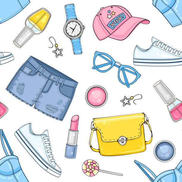 woman fashion summer clothes, cosmetics and accessories set with top, bag, cap, sunglasses, sneakers and jeans shorts - summer fashion stock illustrations, clip art, cartoons, & icons