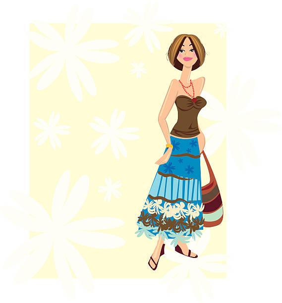 frau-mode - zigeunerleben stock-grafiken, -clipart, -cartoons und -symbole