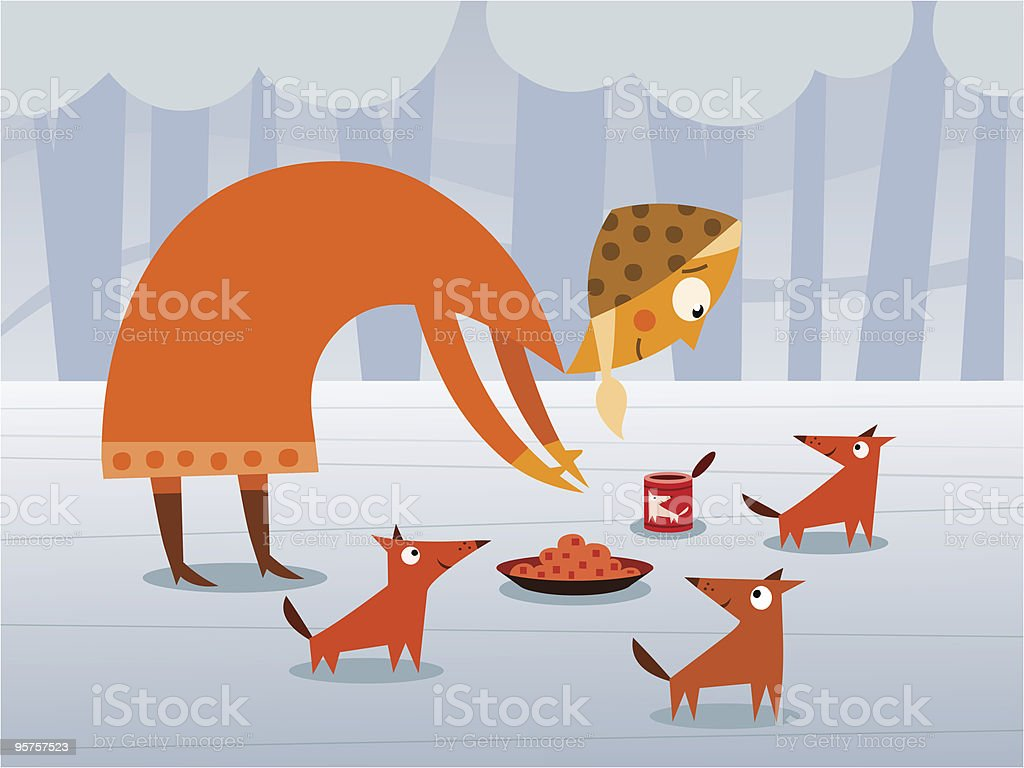 Woman feeding dogs royalty-free stock vector art