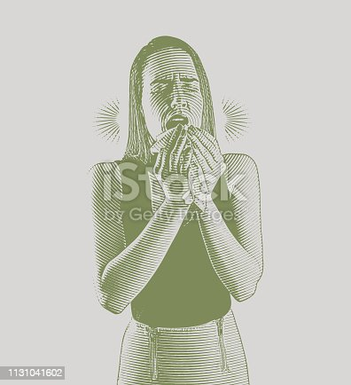 Engraving vector of a Woman feeling sick and sneezing