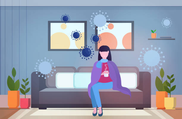 woman feeling sickness epidemic MERS-CoV bacteria floating influenza virus cells wuhan coronavirus quarantine 2019-nCoV pandemic medical health risk living room interior full length horizontal woman feeling sickness epidemic MERS-CoV bacteria floating influenza virus cells wuhan coronavirus quarantine 2019-nCoV pandemic medical health risk living room interior full length horizontal vector illustration quarantine stock illustrations