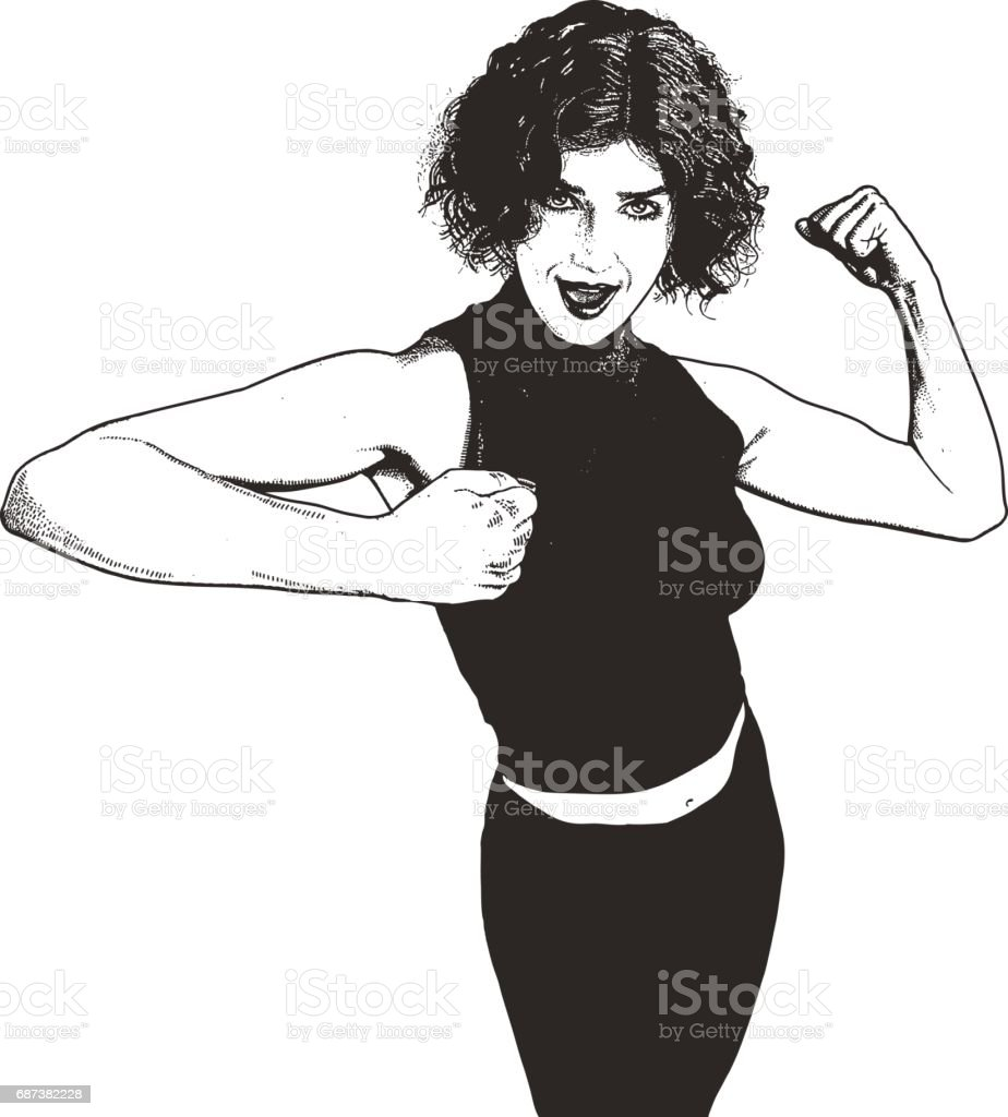 Woman feeling strong and confident, flexing muscles vector art illustration