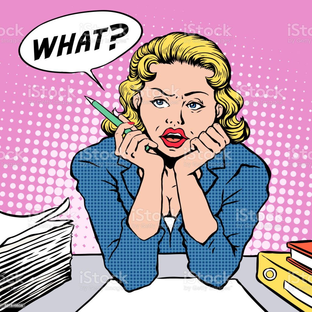 woman feels confused vector art illustration