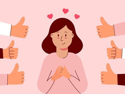 Woman feels good when she is appreciated.