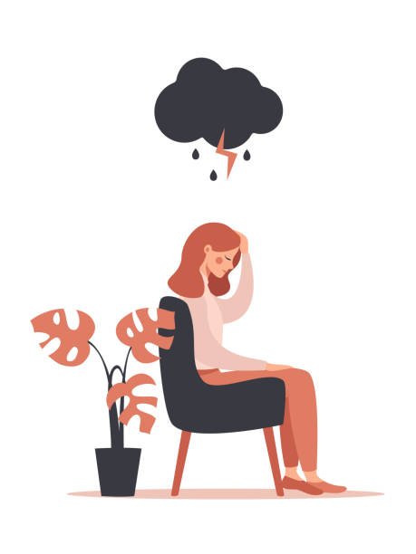 woman feels headache and depression sitting under rainy and stormy cloud. woman feels headache and depression sitting under rainy and stormy cloud. Vector illustration isolated from white background headache stock illustrations