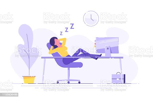 Woman fell asleep at the table in the office work overtime modern vector id1155606495?b=1&k=6&m=1155606495&s=612x612&h=1zytv23eayqn2qsqai03ai8 i6sbgs9v0s2vgttwmzm=
