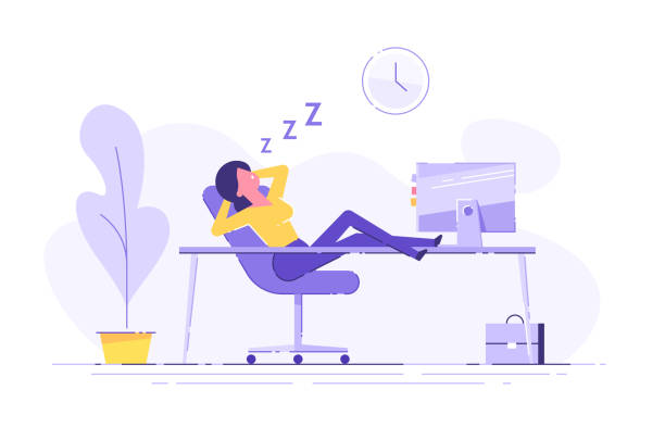 illustrazioni stock, clip art, cartoni animati e icone di tendenza di woman fell asleep at the table in the office. work overtime. modern vector illustration. - noia