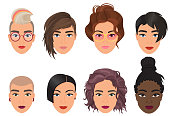 Woman female avatar set vector illustration. Modern multiethic beautiful young girls portrait with different fashion hair style