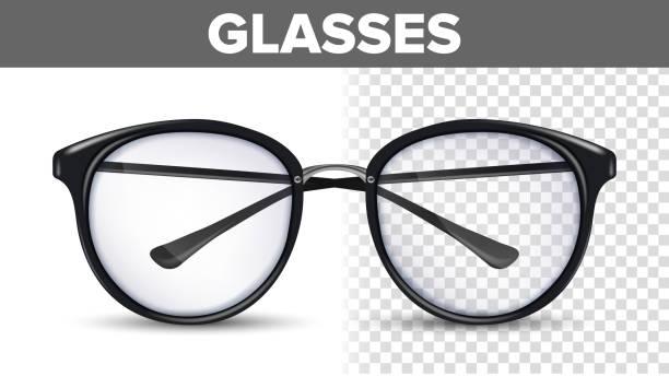 여자 여성 안경 벡터입니다. 블랙 클래식 안경. 비전 광학 렌즈. 투명 한 3d 현실적인 그림 - 안경 stock illustrations
