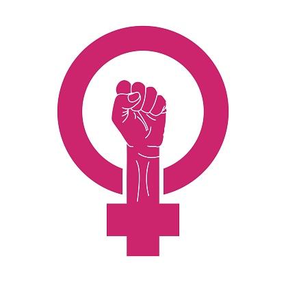 Woman feminism sign. Feminist movement symbol. Protest hand raised up. Female resistance, female power illustration.