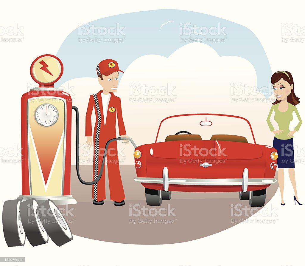 Woman filling up auto at gas station royalty-free woman filling up auto at gas station stock vector art & more images of adult