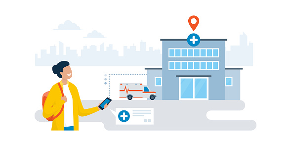 Woman finding a hospital using a navigation app on the phone