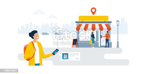Happy woman walking in the city street and finding a shop using her smartphone, online advertisement and navigation concept
