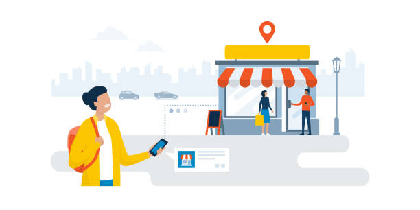 stockillustraties, clipart, cartoons en iconen met vrouw het vinden van een winkel met behulp van haar smartphone - verkooppunt