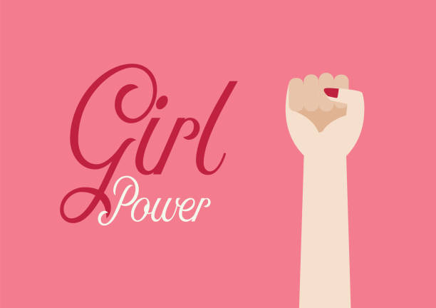 Woman fist hand and inscription Girl power vector art illustration